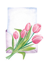 Hand Drawn Watercolor Envelope With Tulips Flowers Isolated On White Background