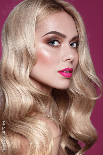 Close Up Portrait Of Fashion Blonde Haired Model With Stylish Mke Up Pink Lips And Brown Eye Shadow Hair Care And Spring Make Up Ideas Concept Buy This Stock Photo And