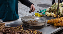 Street Food. Grilled Sweet Corn And Chestnuts, Ermou Street Athens, Greece.