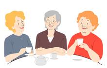Senior Woman Coffee Illustration
