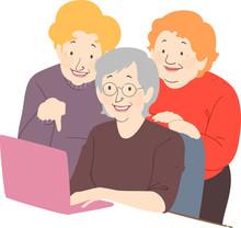Senior Woman Friends Laptop Il...