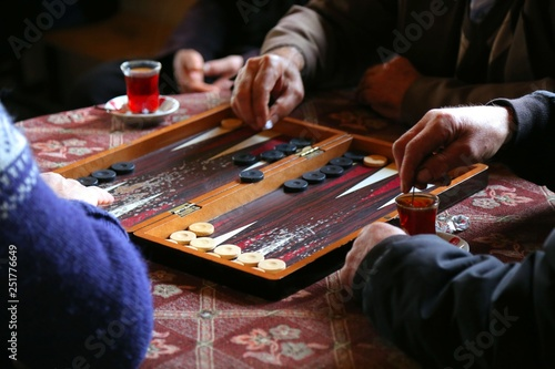 Obraz na plátne people playing backgammon