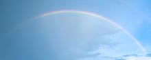 Real Rainbow On Blue Sky After Raining.