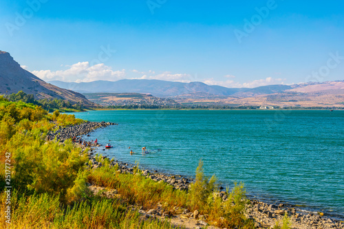 Valokuva Sea of Galilee viewed from mount Arbel in Israel