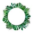 Leinwandbild Motiv Summer tropical leaves and blank frame with copy space on white background