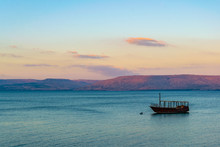 Sunset View Of A Wooden Boat F...