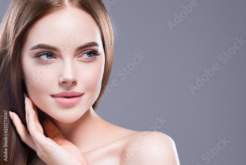 Beautiful hair woman long brunette hairsstyle healthy skin Canvas Print
