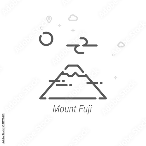 Valokuva  Mount Fuji, Japan Vector Line Icon