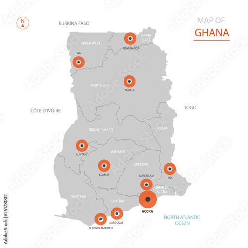 Stylized vector Ghana map showing big cities, capital Accra ... on khartoum sudan map, addis ababa map, nairobi kenya map, ghana world map, greater accra map, ghana street map, osu ghana map, malabo equatorial guinea map, legon ghana map, kampala-uganda map, grand trunk road india map, lagos nigeria map, ethiopia yemen map, ghana flag map, cape town south africa map, ghana geological map, west africa map, abidjan ivory coast map, tripoli libya map,