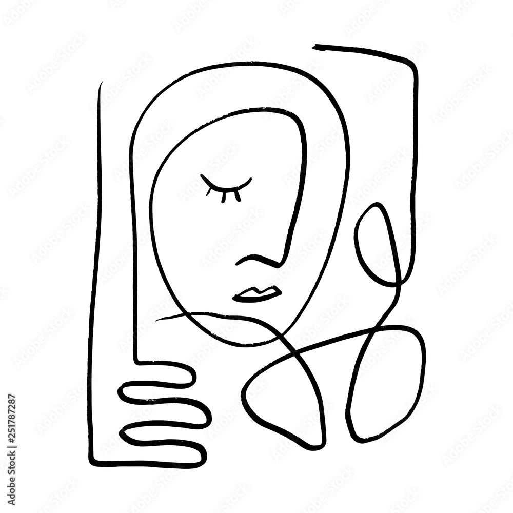 Simple hand drawn black and white trendy line portrait art. Abstract composition