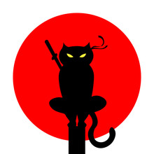 Cat Ninja Illustration Vector. A Cat With A Bandage. Martial Arts. Japan Red Sun