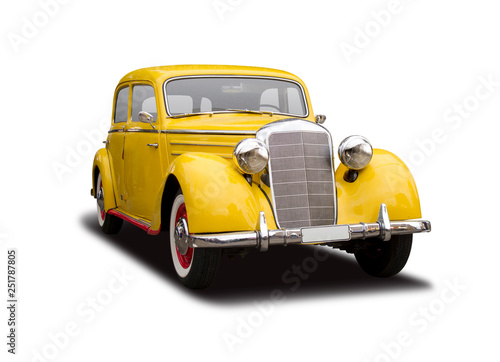 Yellow German antique car isolated on white