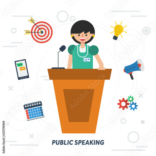 Valokuvatapetti Public speaking business woman