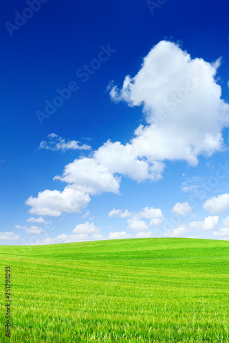 In de dag Lime groen Idyllic view, green hills and blue sky with white clouds