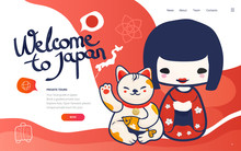 Vector Template For Vacation And Travel To Japan Poster Or Banner. Holydays In Japan Landing Page Wireframe Or Japanese Tour Banner With Kokeshi Doll And Lucky Cat.