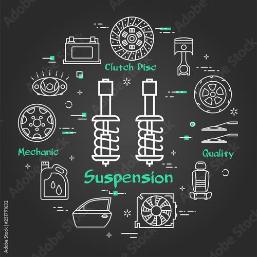Fotografía  Vector black linear banner of suspension