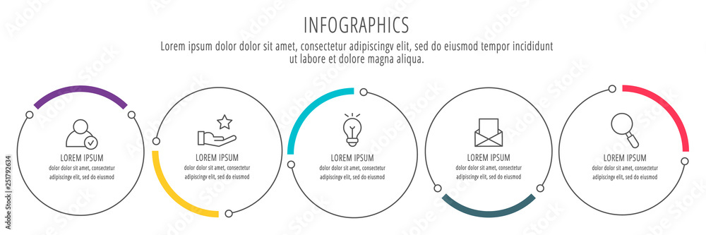 Fototapeta Modern and simple flat vector illustration. Infographic template with five circles, elements, sectors and percentages. Designed for business, presentations, web design, interface 5 step diagrams