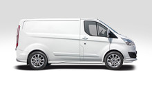 White Van Side View Isolated O...