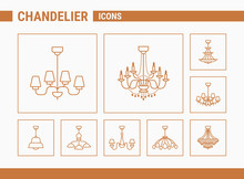 Chandelier Vector Icons - Set Of Silhouettes Vintage And Luxury Chandelier