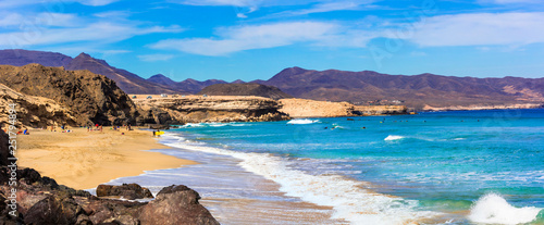 Wild beauty and unspoiled beaches of Fuerteventura. La Pared -popular surfer's spot, Canary islands
