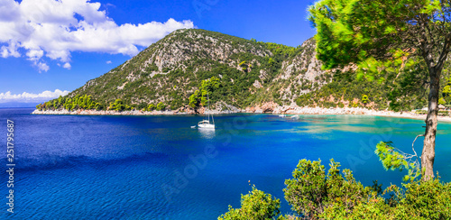 Picturesque Limnonari bay in Skopelos island. Northen Sporades of Greece