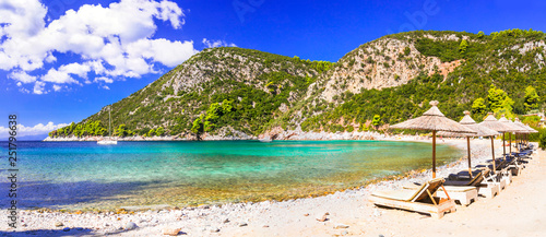 Best beaches of Skopelos island - Limnonari bay with crystal waters. Sporades islands of Greece