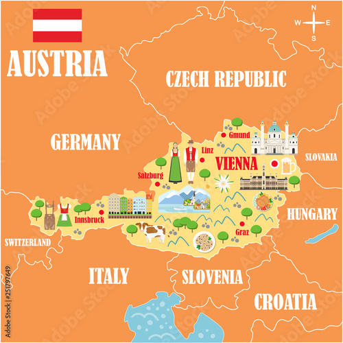 Fotografie, Obraz Stylized map of Austria