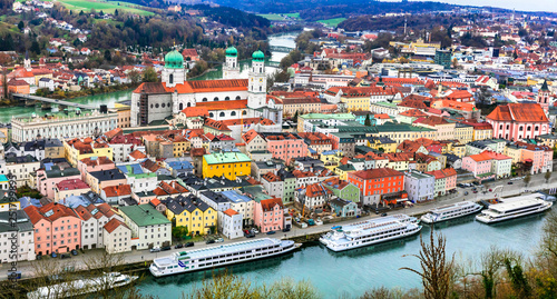 Travel in Germany (boat cruise in Danube river) -Passau, beautiful town in Bavavria