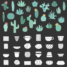 Vector Set Of Cacti And White Pots On The Dark Background. Hand-drawn Illustration Of A Cactus In Scandinavian Style. Summer Collection For Decor, Card, Home, Interior, Print, Poster