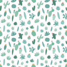 Seamless Pattern Of Hand-drawn Green Tropical Cacti. Vector Illustration Of A Cactus In The Scandinavian Style For The Summer, Children, Print, Background, Typography, Nursery, Baby, Home
