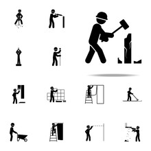 Construction, Demolish Worker Icon. Construction People Icons Universal Set For Web And Mobile
