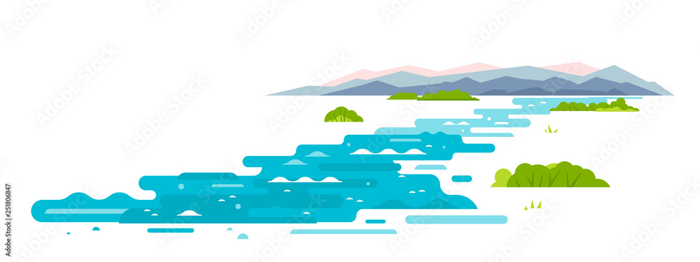Obraz Meandering river flows from the mountains, wraps around shrubs, sample geometric shapes, flat illustration on white background fototapeta, plakat