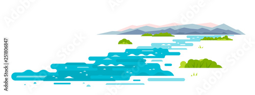 Meandering river flows from the mountains, wraps around shrubs, sample geometric shapes, flat illustration on white background