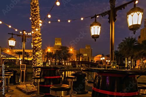 Night life Dubai Light Illumination Restaurant Terrace Wallpaper Mural