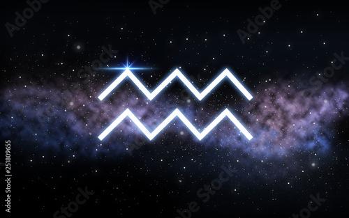 astrology and horoscope - aquarius zodiac sign over dark