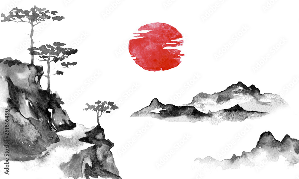 Fototapeta Japan traditional sumi-e painting. Indian ink illustration. Japanese picture. Sun and mountains