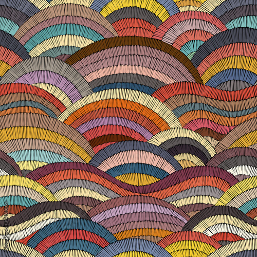 Seamless embroidered pattern. Wavy bohemian print. Patchwork ornament. Vector illustration. Fototapete