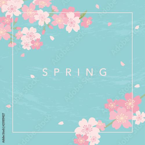 青い背景と桜のフレーム