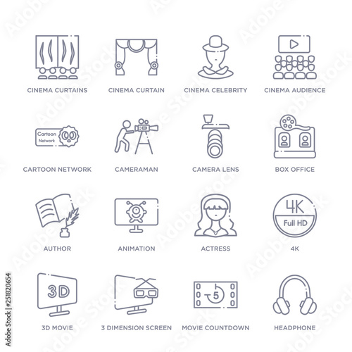 Valokuva  set of 16 thin linear icons such as headphone, movie countdown, 3 dimension scre