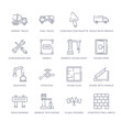 set of 16 thin linear icons such as constructing a brick wall, flags crossed, derrick with boxes, road barrier, stairs with handle, house plan, stopcock from construction collection on white