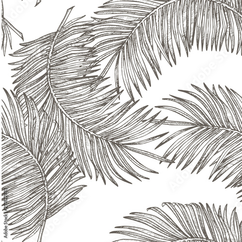 фотография  Jungle leaves seamless floral pattern background