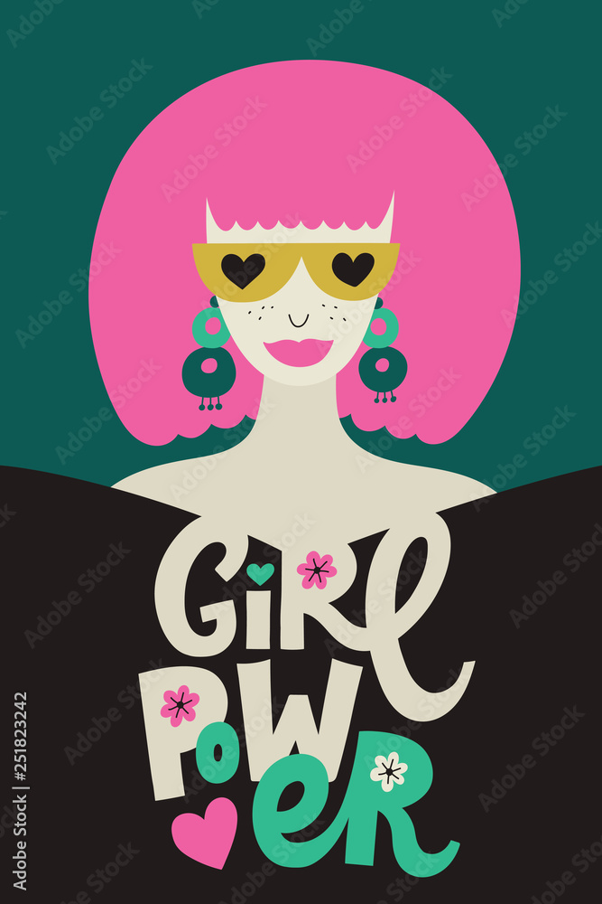 Girl Power poster with stylish woman and letterin phrase