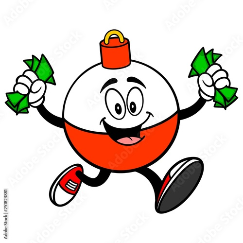 Vászonkép Fishing Bobber Mascot running with Money - A vector cartoon illustration of a red and white Fishing Bobber mascot running with Money