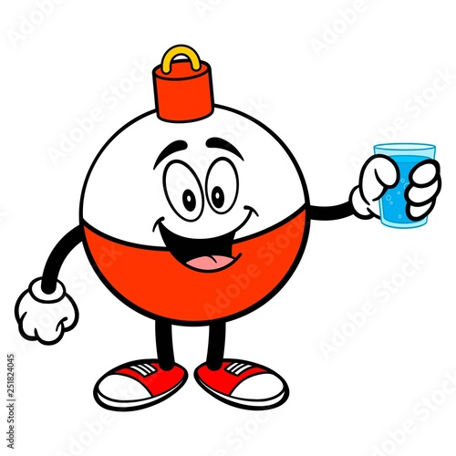 Fishing Bobber Mascot with a cup of Water - A vector cartoon illustration of a red and white Fishing Bobber mascot holding a cup of Water Fototapet