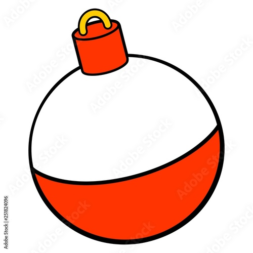 Obraz na plátně Fishing Bobber - A vector cartoon illustration of a red and white Fishing Bobber