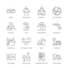 Set Of 16 Thin Linear Icons Su...