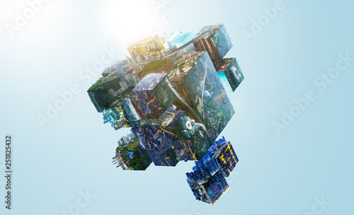 Fotografia Fantasy puzzle cube of city and landscapes floating in the air , smart and creative city  global concept