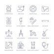 set of 16 thin linear icons such as nanometer, sand clock almost finish, old calculator, angular ruler, wheel meter, large scale with suitcase, open compass from measurement collection on white