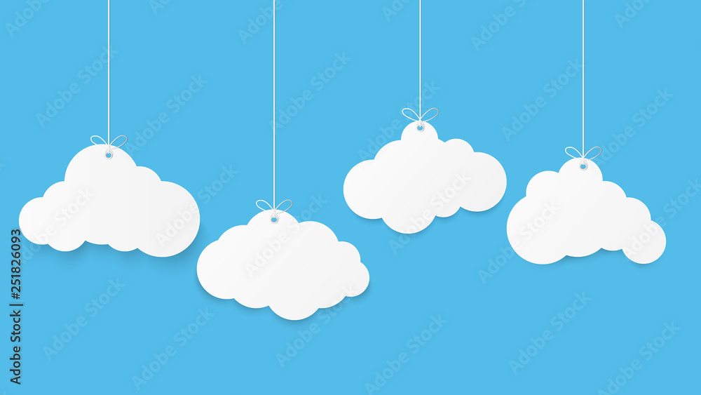 Fototapeta Paper art with cloud on blue sky. Copy space. Speech Bubble, White blank hanging.