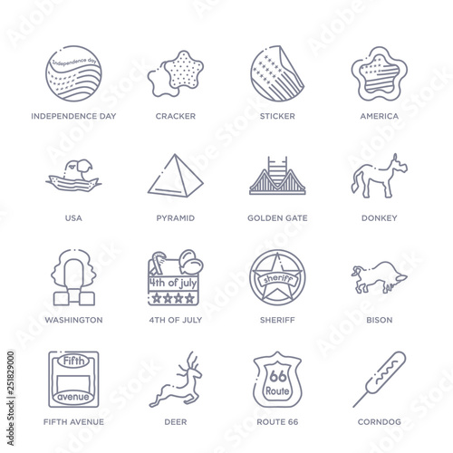 set of 16 thin linear icons such as corndog, route 66, deer